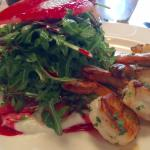 The Beet and Goat Cheese Salad With The Addition of Grilled Shrimp