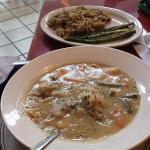 chicken and dumplings, pilaf, asparagus