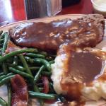 meatloaf, green beans with bacon, mashed potatoes with gravy