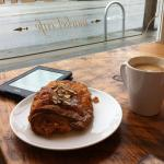 almond/chocolate croissant; americana and my kindle