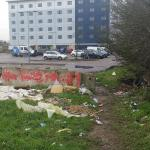 View of hotel over the rubbish pile