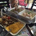 Delicioso! Calamares de río a la plancha, píangua y ceviche de corvina.