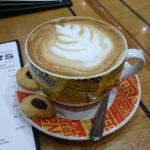 Large cappuccino and menu