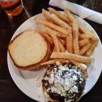 Steak Burger With Mushrooms, Blue Cheese and Grilled Onions and Fries