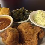 Fried chicken, collard greens, corn bread, coleslaw and beans