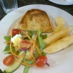 Pie with chips & salad