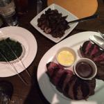 Steak, mushroom, spinach