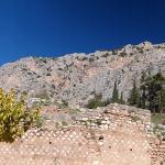 Delphi ruins and surrounding landscape