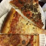 Half slices from Antonio's. They were nice enough to split each slice to make it easier for hubb