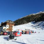 from the bottom of slope, chalet view