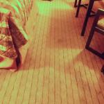 stained carpeting in room