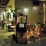 Entrance to Tumeric Thai Kitchen at dusk