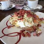 The perfect lunch.. Jacket potato packed with fresh deliciousness... Good coffee and excellent s