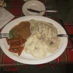 Tender Loin w/ mushroom sauce, mashed potatoes, apple puree and carrots