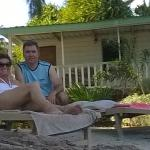 Relaxing on the sun lounger in front of our cabin