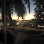 Just after sunset in the gazebo by the pool.