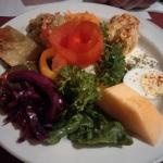 Salad plate - a taste of a few different salads. YUM!