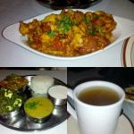 Momos, chicken chili, vegetarian thali, and ginger tea