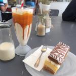 Salted Caramel milkshake and a vanilla slice.
