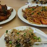 Fried rice, fried noodle and whole chicken