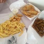 Fish and 2 kinds of chips