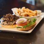 Mushroom swiss burger with fries