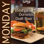 Monday specials-burgers and domestic draft beer