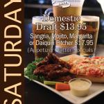 Saturday specials-Appetizer platters and pitchers of margarita and mojito