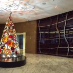 The lobby with a Christmas tree
