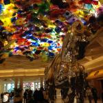 Another shot of the horse sculpture and the Chihuly glass art in the ceiling in the lobby