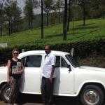 Ambassador & Augustin,our driver. Munnar guest house garden, lunch on the boat on backwaters.