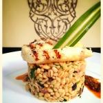 Grilled sea bream with its cracked wheat risotto