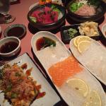 sashimi and scallops rolls
