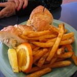 Gingered Apricot Chicken Salad Sandwich & Fries
