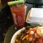 Tasty Bloody Mary and enormous order of nachos -- all for under $20 -- and with a view of the mo