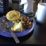 Bagels Benedict with country fried potatoes. At $6.49 a great hearty breakfast have to say coffe