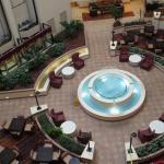 Main lobby with restaurant/bar seating area.