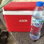 Water at beach with cool box