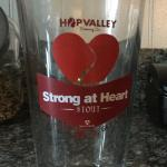 Hop Valley sponsored blood drive commemorative glass