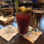 Pinot Gris house wine and Bloody Mary with beer chaser! : )