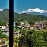 Window panoramic view of fishtail and annapurna ranges