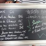 bar menu tapas été 2015