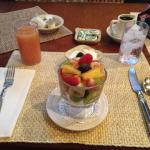 Fresh fruit, low-fat yogurt and grapefruit juice