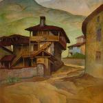 """Houses"" by Vladimir Rilski, oil on canvas"