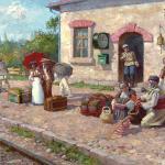 """Old Railway station"" by Michail Lyutov, oil on canvas"