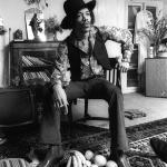 Jimi Hendrix at 23 Brook Street, 1969. Credit:Barrie Wentzell