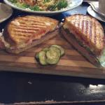 Veggie pizza, salad, and panini