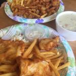 Came for lunch.  We shared , clam chowder, fried clams, and fish and chips.  The fried white cod