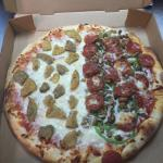 Half house special half eggplant   Stuffed meat lovers pizza
