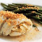 Scrod stuffed with crabmeat
